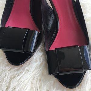 Miu Miu Black Patent Open Toe Slingback Shoes